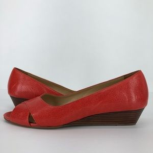 Talbots 8 Wedges Shoes Red Leather Slip On